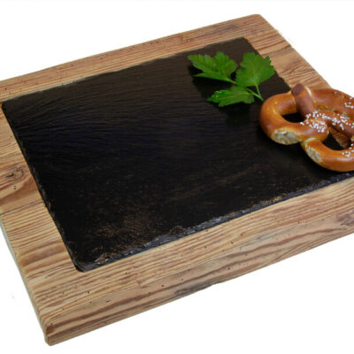 Edelalt - Altholz Brett mit Schieferplatte Brotzeitbrett Gastronomie