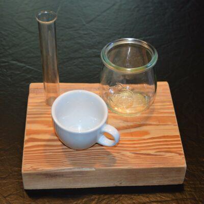 Edelalt - Altholz Despresso Brett - Dessert und Espresso besonders servieren Idee