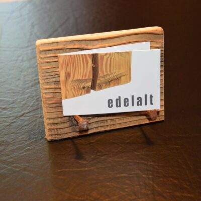 Edelalt - Altholz Kartenhalter Visitenkarte klein mit Hufnägeln