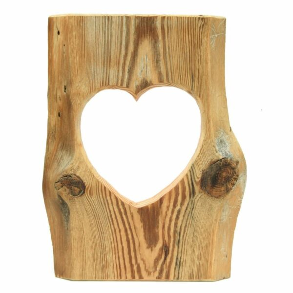 Edelalt - Herz Bilderrahmen aus Altholz Fichte mit Herz