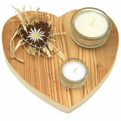 Edelalt - Teelicht Herz aus Altholz